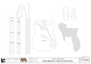 Solid Body Electric Guitar Plan #1 2D CNC File Content