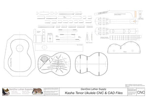 14-Fret Tenor Kasha Braced Ukulele Plans, 2D CNC File Content