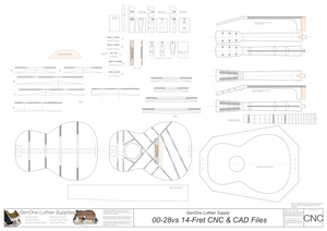 00-28vs 14-Fret Guitar Plans 2d CNC Files
