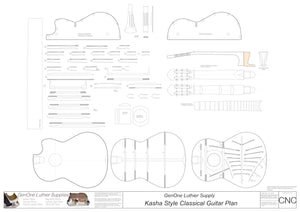 Classical Guitar Plans - Kasha Bracing 650mm 2D CNC File Content