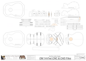 OM-14 Fret Guitar Plans 2d CNC Files