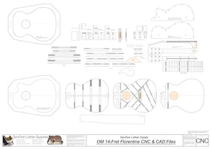 OM 14-Fret Florentine Guitar Plans 2d CNC Files