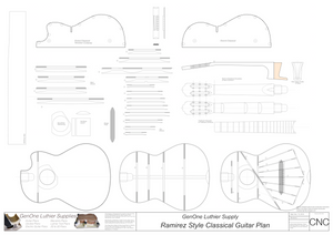 Classical Guitar Plans Ramirez Bracing 650mm 2D CNC File Content