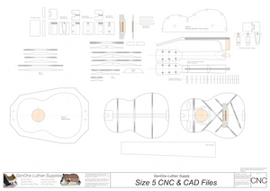Size 5 Guitar Plans 2d CNC Files