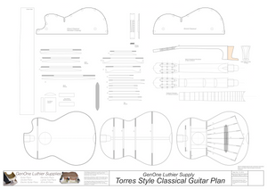 Classical Guitar Plans - Torres Bracing 2D CNC File Content