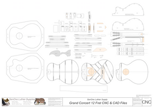 Grand Concert 12-Fret Guitar Plans 2d CNC Files