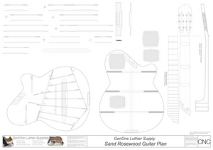 Electric Nylon Guitar Plans - Sand Rosewood, 2D CNC Files Content
