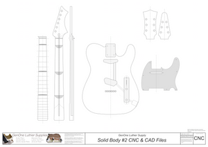 Solid Body Electric Guitar Plan #2 2D CNC files content