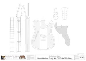 Hollow Body Electric Guitar Plan #1 2D CNC files content