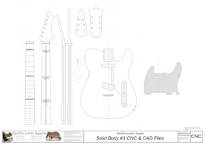 Solid Body Electric Guitar Plan #3 2D CNC File Content
