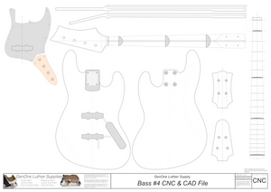 Solid Body Electric Bass Guitar Plan #4 2D CNC file contents
