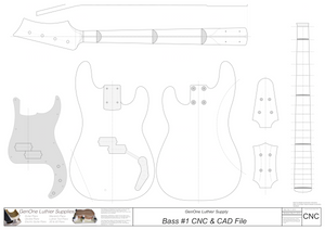 Solid Body Electric Bass Guitar Plan #1 2D CNC file contents