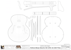Hollow Body Electric Guitar Plan #2 CNC Files Content