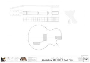 Solid Body Electric Guitar Plan #13 2D CNC File Content