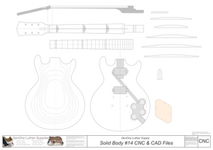 Solid Body Electric Guitar Plan #14 2D CNC File Content