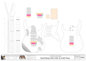 Solid Body Electric Guitar Plan #20 2D CNC Files content