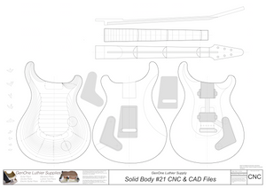 Solid Body Electric Guitar Plan #21 2D CNC files content