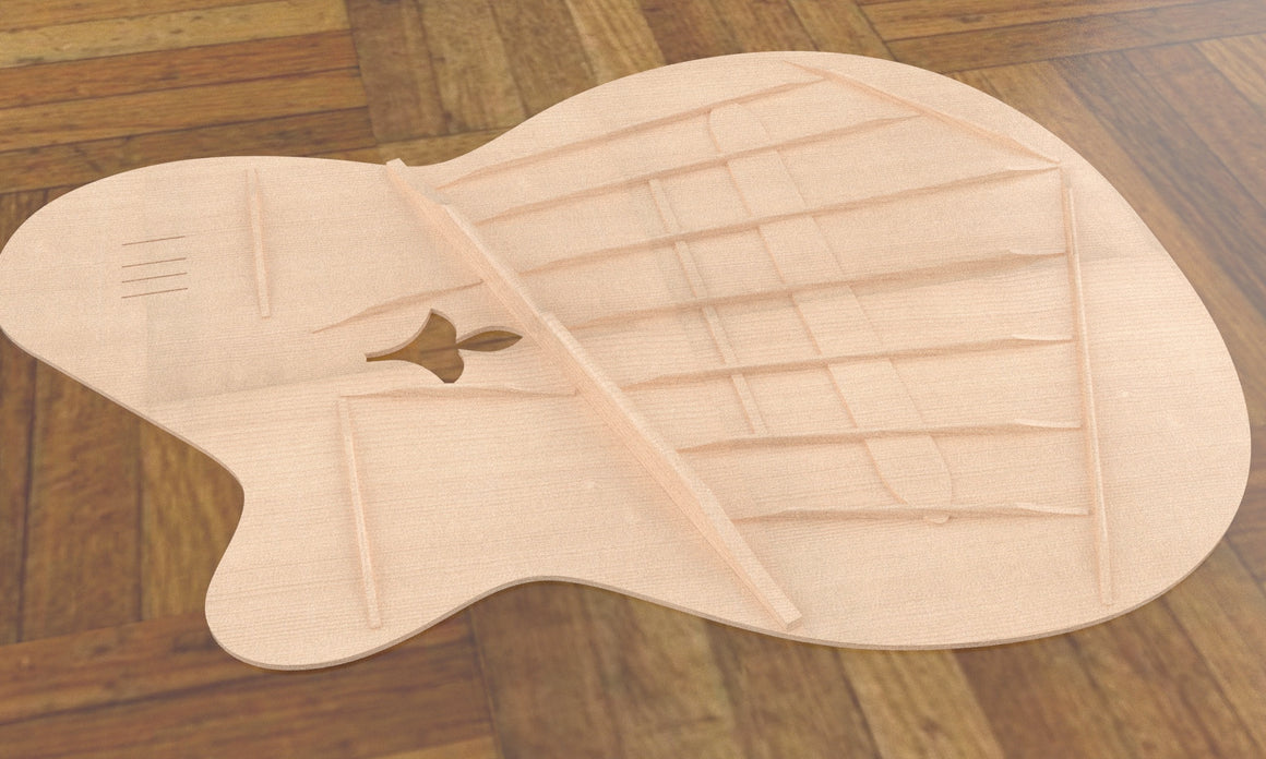 Sand Rosewood Fleur-de-lis Nylon Electric Guitar, Overall View