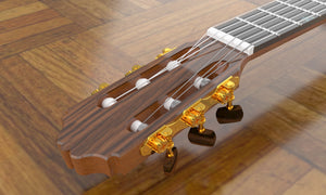 Sand Rosewood Fleur-de-lis Nylon Electric Guitar, Headpiece Detail