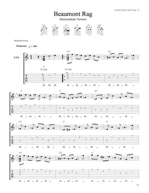 Ultimate Guitar Tabs - Book 1 Intermediate , Beaumont Rag