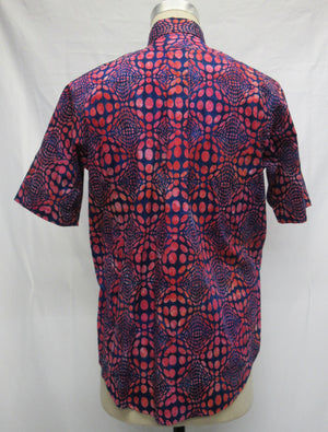 Optical Illusion- Red,Blue Short Sleeve