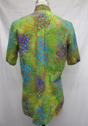 Yellow Green Abstract Short Sleeve