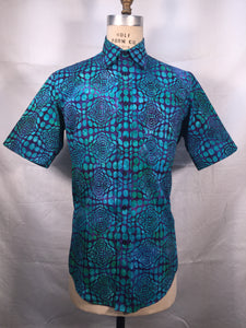 Optical Illusion- Blue,Aqua Short Sleeve