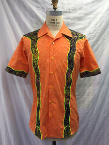 Orange batik cabana shirt-Medium