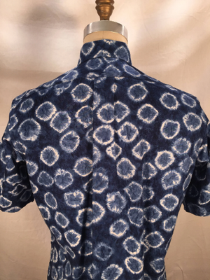 Navy Shibori Print Short Sleeve