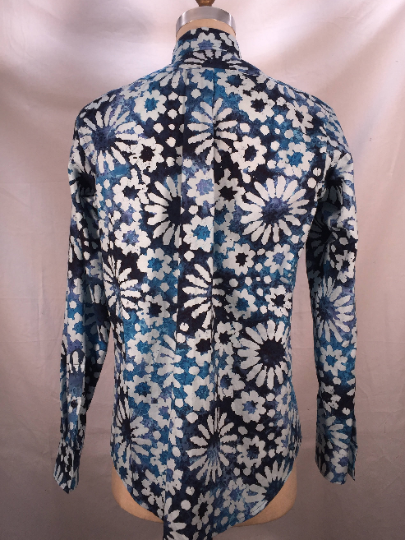 Navy & White Floral Batik Long Sleeve