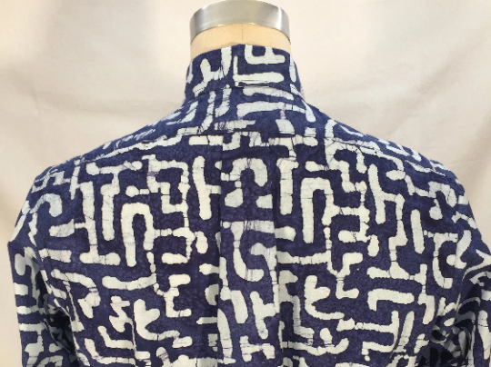 Navy/White Batik Long Sleeve