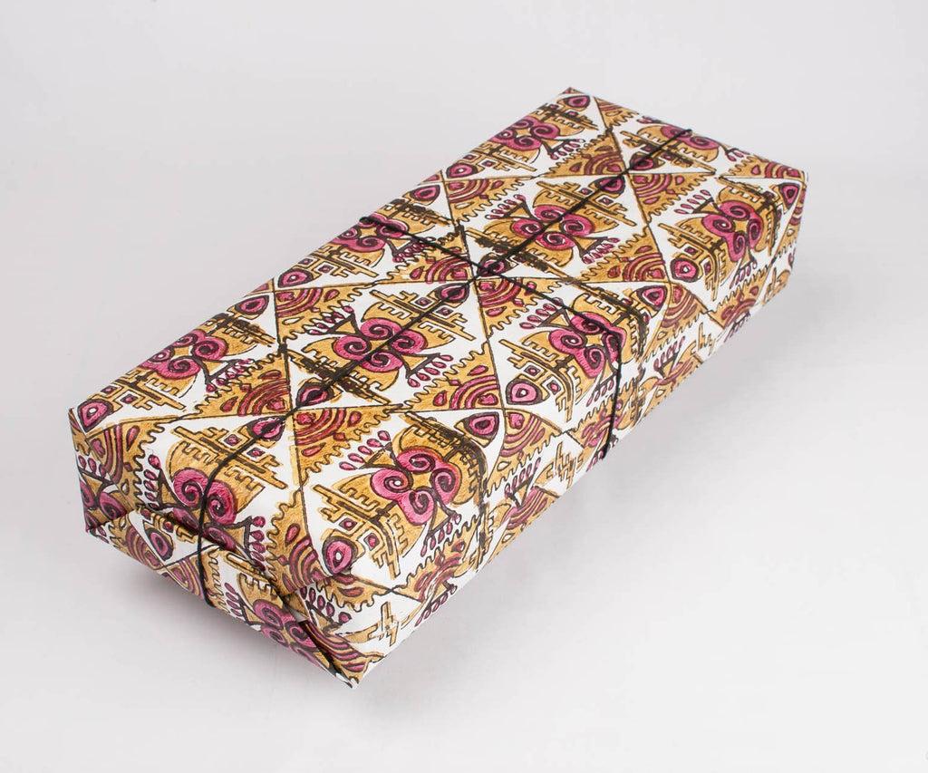 Block printed Film poster gift wrapping paper - 3 colours - The Second Life India