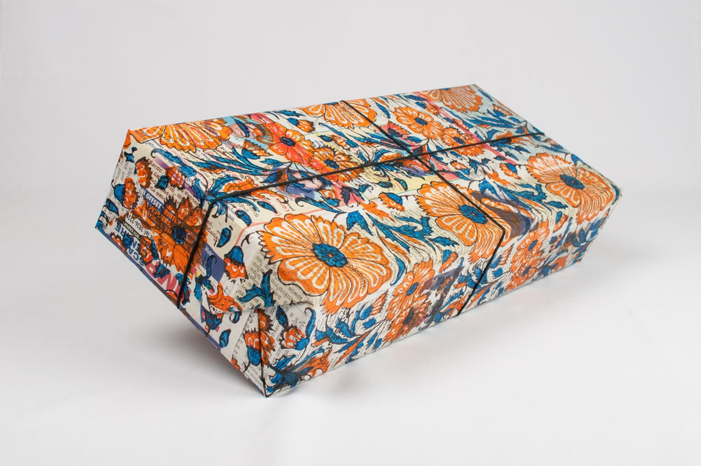 Block printed Newspaper gift wrapping paper - Triple colours - The Second Life India