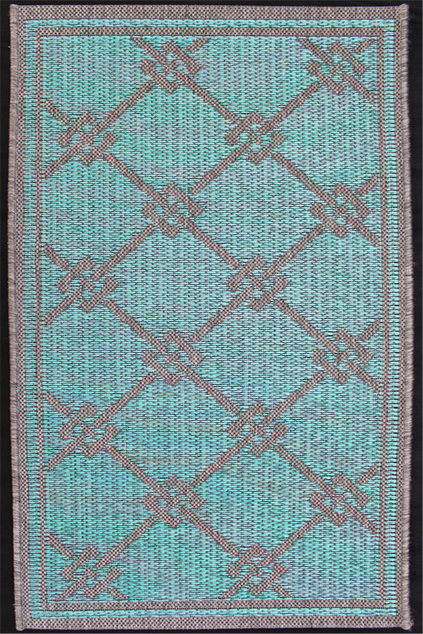 Monaco Brics Turquoise Indoor/Outdoor Area Rug