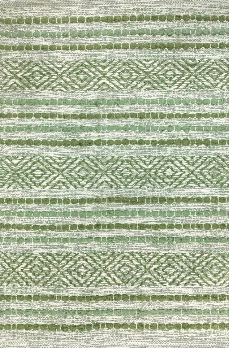 Fusion Peridot Green Dhrurrie Cotton Area Rug