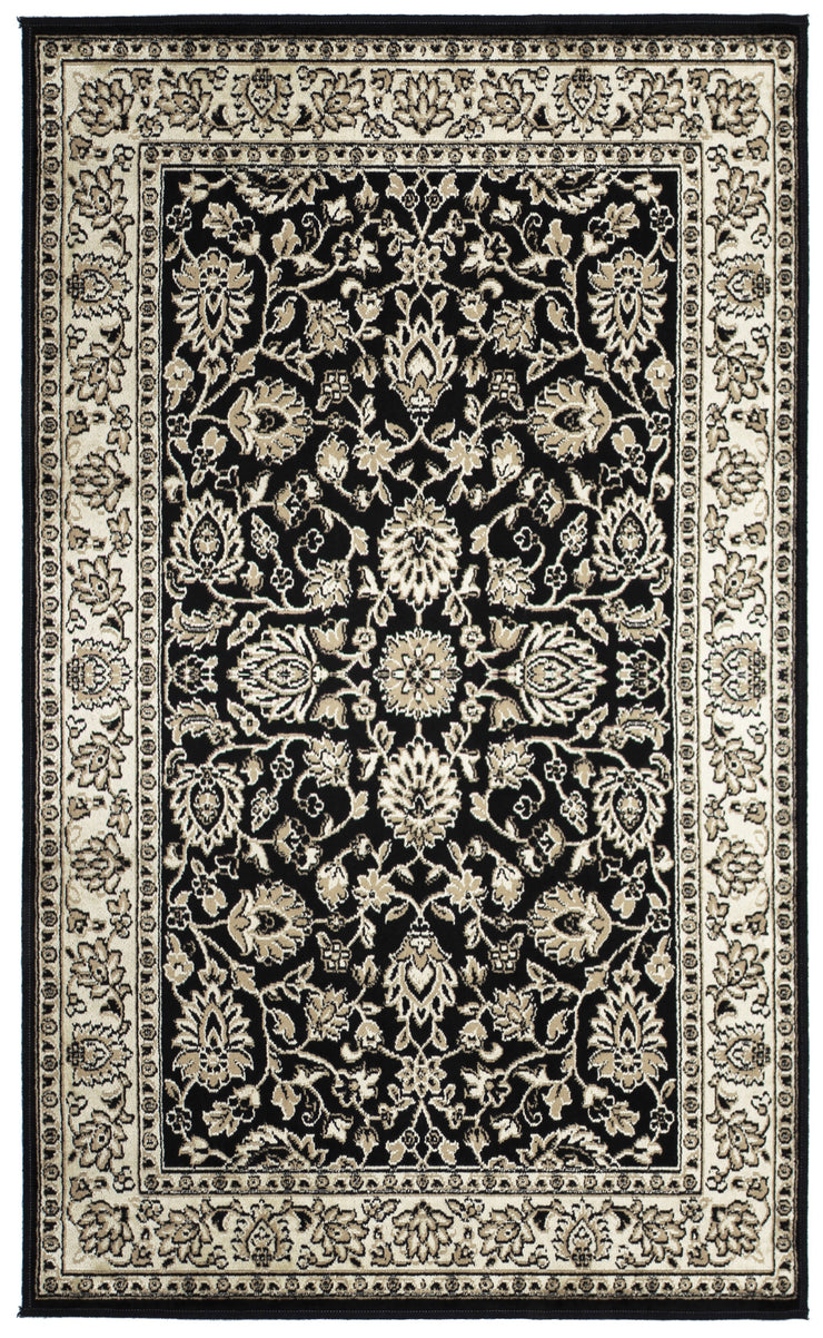 Art. Silk Floral Black Rug