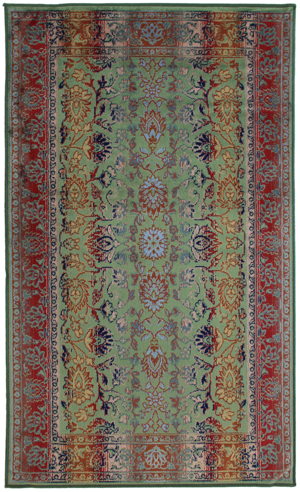 Art. Silk Floral Multi Green Rug