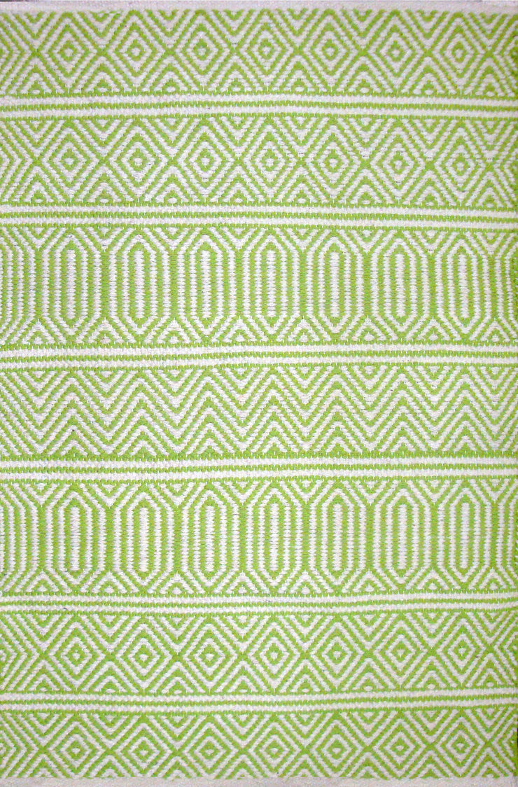 Geo Lime Green Dhrurrie Cotton Area Rug