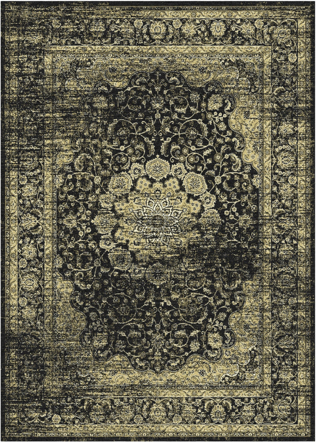 Art. Silk Garland Faded Black Rug
