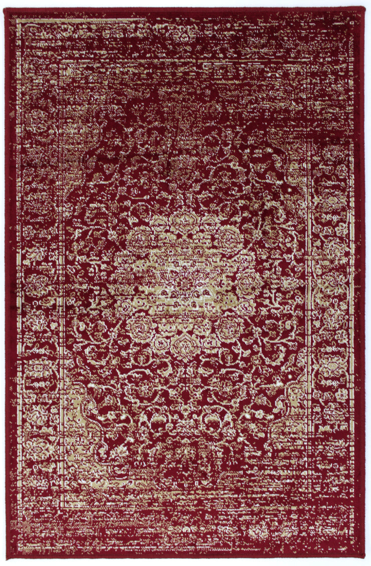 Art. Silk Garland Faded Red Rug