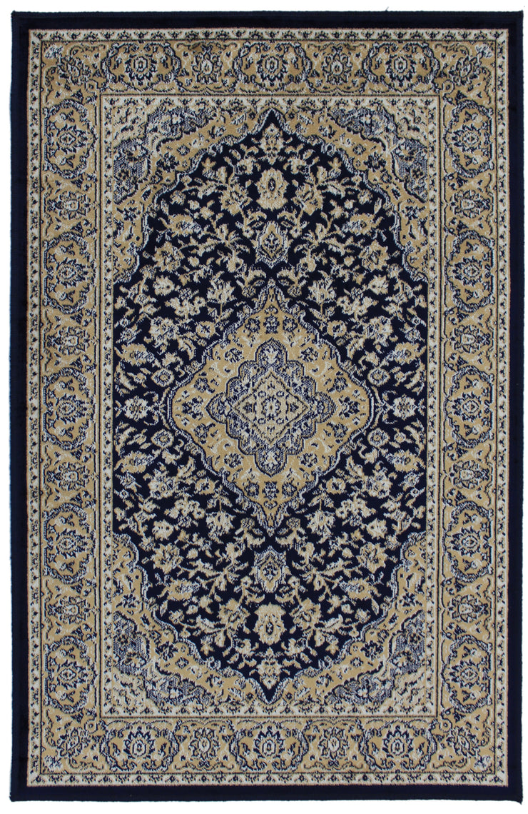 Art. Silk Kirman Navy Rug