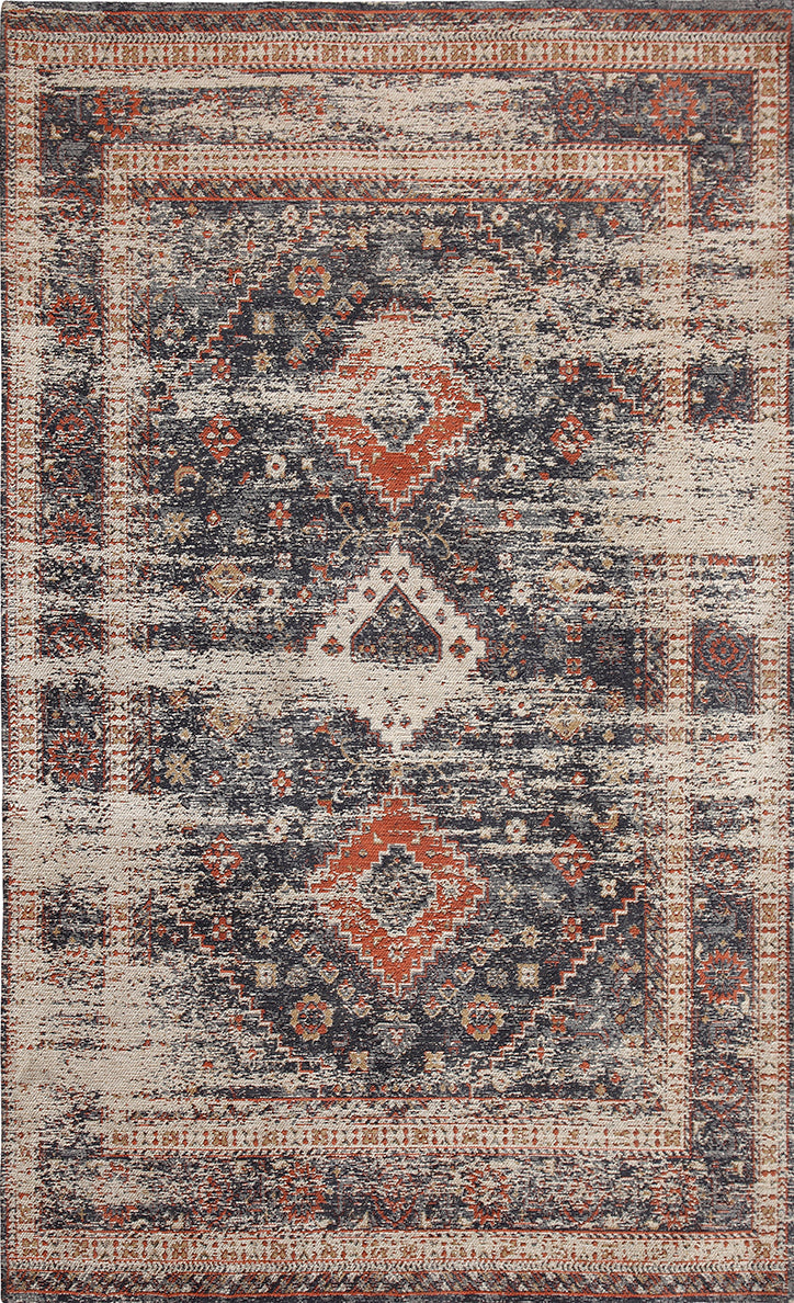 Vintage Marina Gray/Burnt Orange  Area Rug