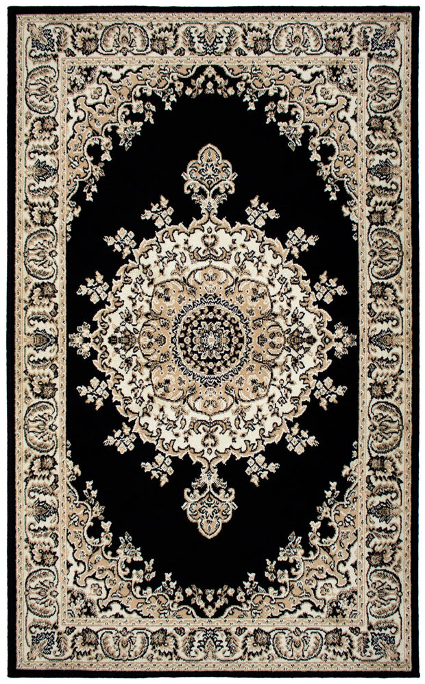 Art. Silk Medallion Black Rug