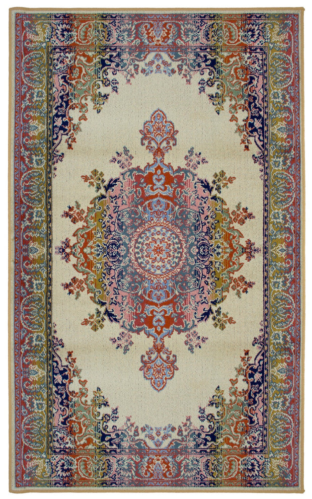Art. Silk Medallion Multi Beige Rug