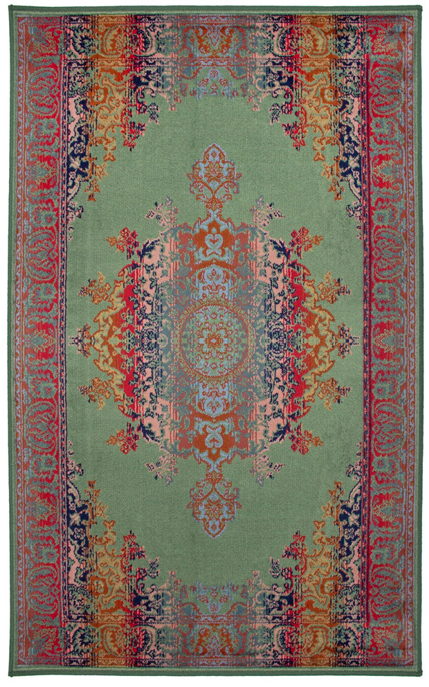 Art. Silk Medallion Multi Green Rug