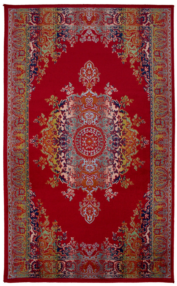 Art. Silk Medallion Multi Red Rug
