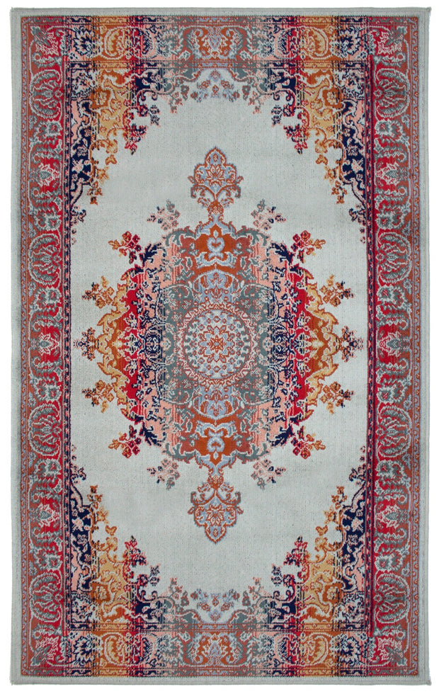 Art. Silk Medallion Silver Blue Rug