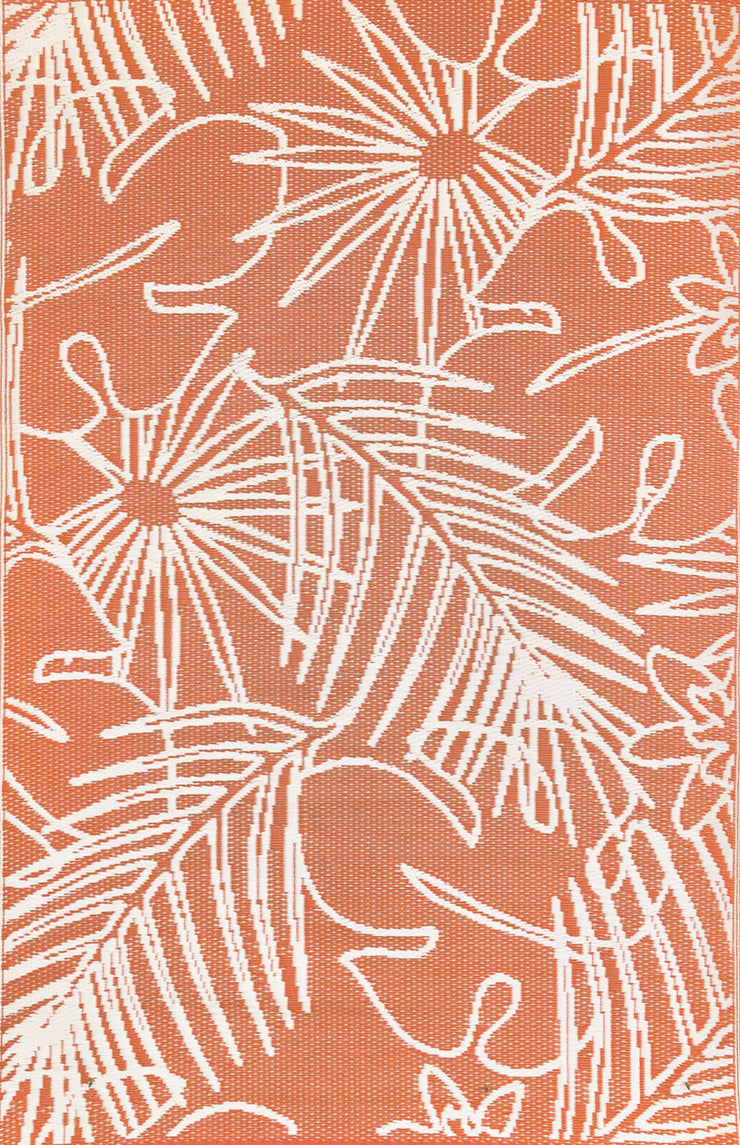 Mad Mats Palm Salmon White Indoor/Outdoor Mat