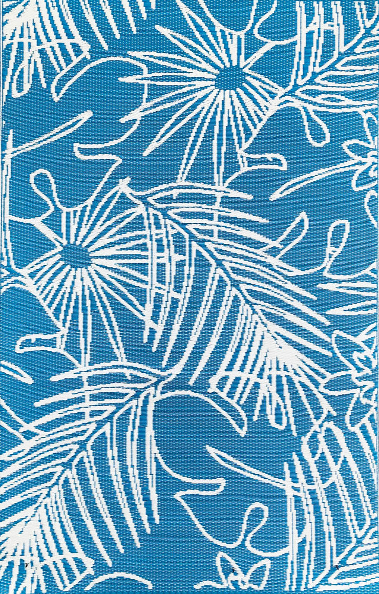 Mad Mats Palm Turquoise White Indoor/Outdoor Mat