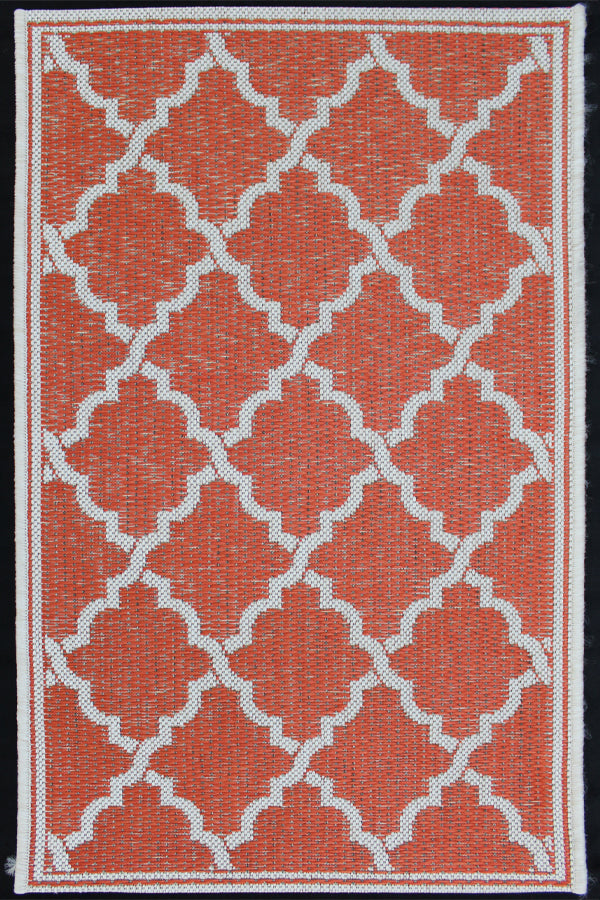 Monaco Quatrefoil Tangerine Indoor/Outdoor Area Rug